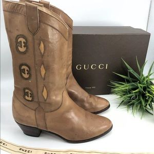 Gucci Authentic Vintage 80s GG Western Cowboy Boot